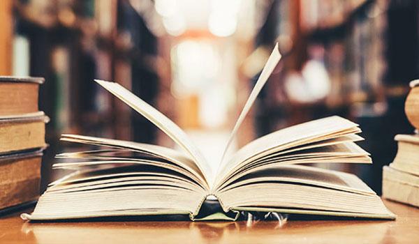 Aufgeschlagenes Buch im Vordergrund, im Hintergrund Bücherregale