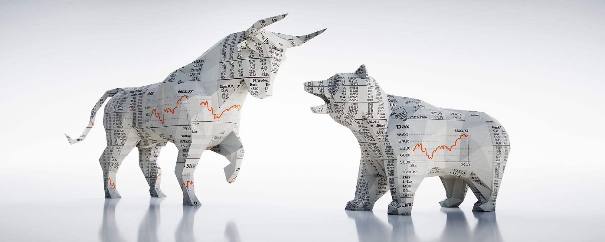 Bulle und Bär des Aktienmarkts