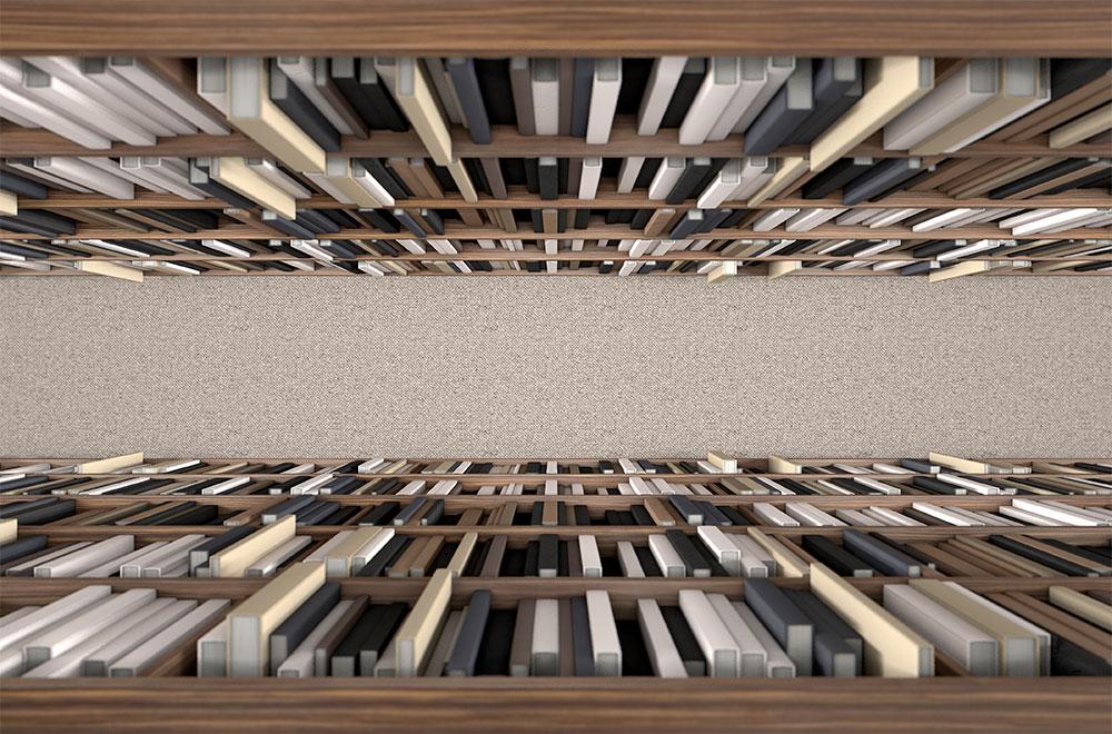 Gang mit Bücherregalen eines Archivs