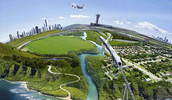 Flugzeug fliegt über grüne Landschaft und Meer