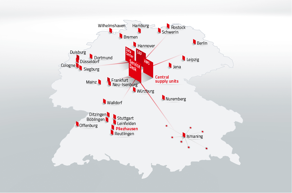 Central Production and Local Delivery - DATAGROUP's locations in Germany