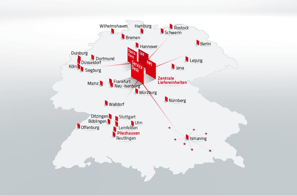 Zentrale Einheiten bei lokaler Produktion - die DATAGROUP Standorte