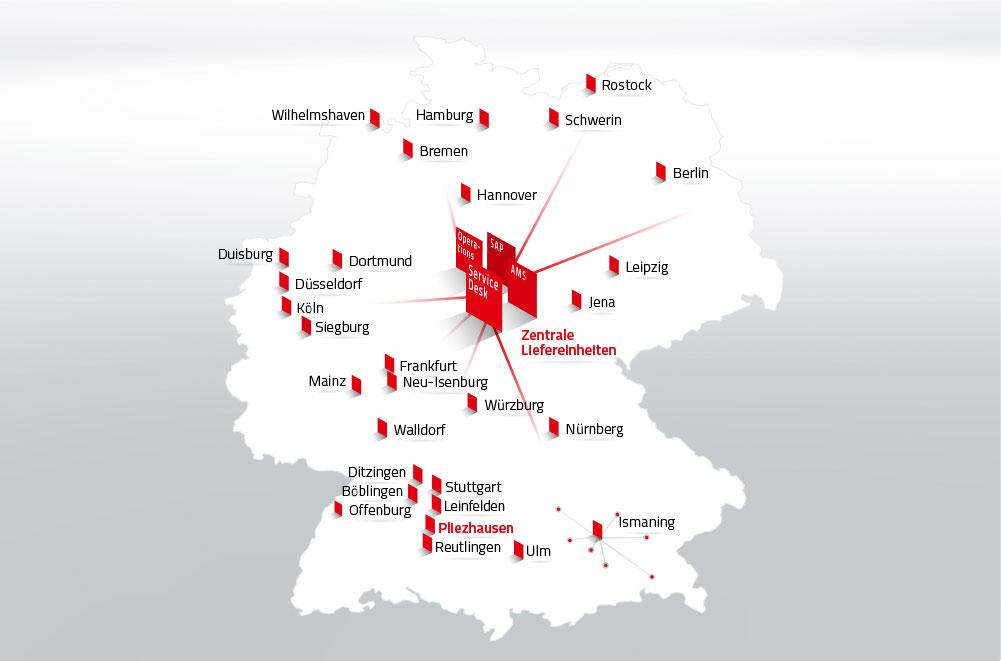 Deutschlandkarte aller Standorte von DATAGROUP. In der Mitte sind mit Trapezen die zentralen Liefereinheiten abgebildet. Vier Trapeze mit der Beschriftung Operations, SAP, AMS und Service Desk.