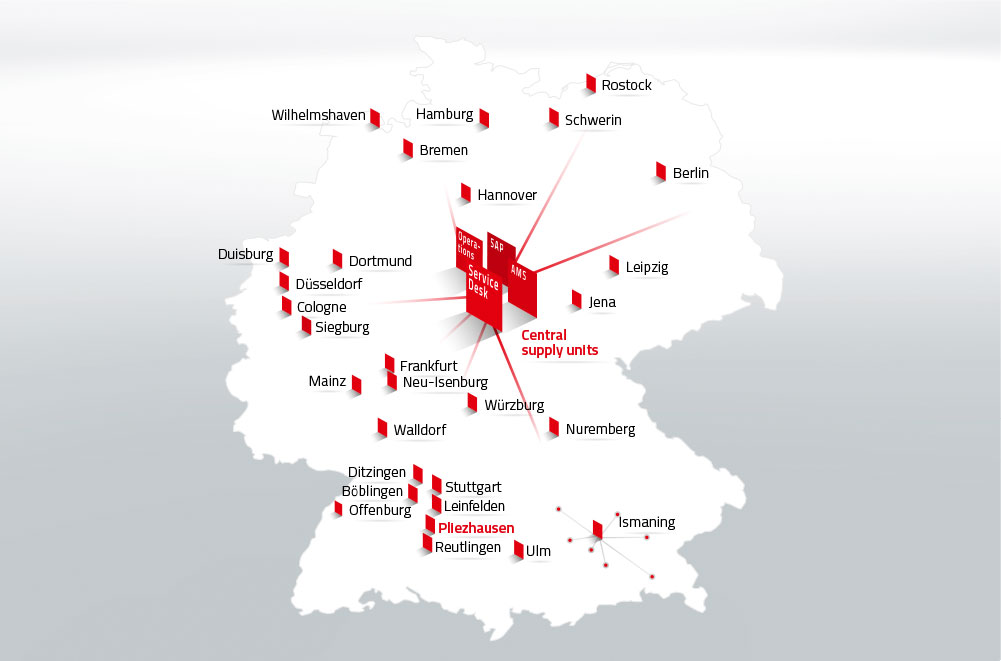 A map of Germany shows the locations where DATAGROUP is present. In the middle are four trapezes representing the central supply units. They read: Operations, SAP, AMS and Service Desk